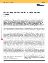 Game theory and neural basis of social decision making