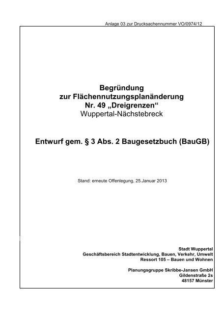 Begründung zur erneuten Offenlegung - Stadt Wuppertal