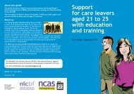 Support for care leavers aged 21 to 25 with education and training