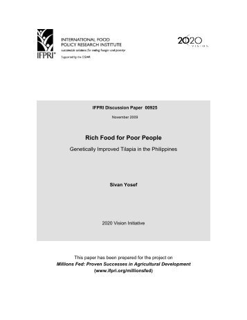 Rich Food for Poor People - International Food Policy Research ...