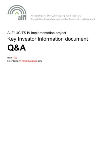 ALFI UCITS IV implementation project – KID Q&A Document