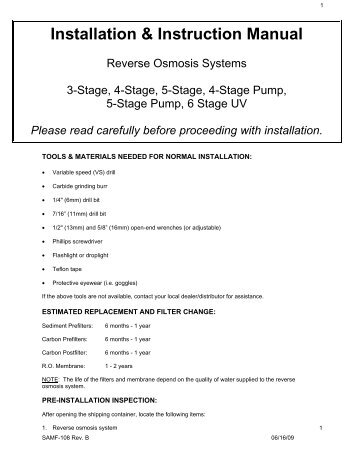 Installation & Instruction Manual - Reverse Osmosis, RO Water ...