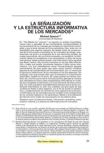 la señalización y la estructura informativa de los mercados - Revista ...