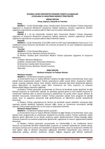 İstanbul Şehir Üniversitesi Modern Türkiye Çalışmaları Uygulama ve