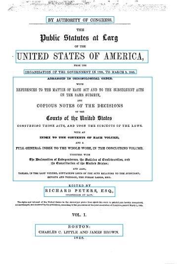 Vol. 1, Statutes at Large - HiWAAY Information Services