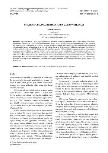 psichosocialiniai rizikos arba darbo veiksniai - Vilniaus Gedimino ...