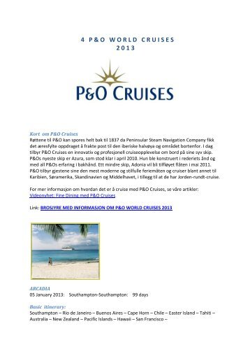 4 P & O   W O R L D   C R U I S E S  2 0 1 3 - Ask Mr. Cruise