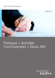 Politique « Activités Controversées » Dexia AM - Dexia Asset ...