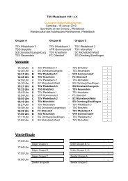 Spielplan D-Jugend Hallenfußballturnier - TSV Pfedelbach