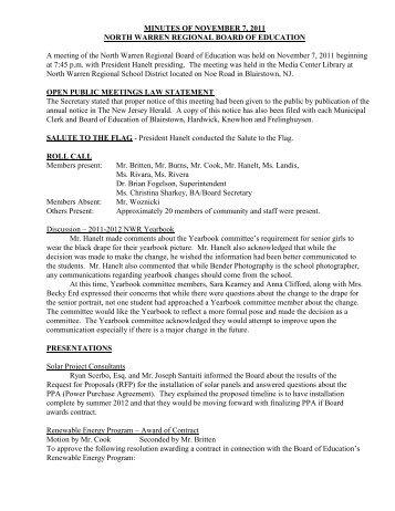 MINUTES OF MAY 5, 2009 - North Warren Regional School District