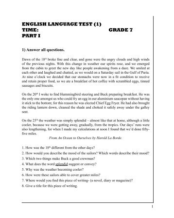 ENGLISH LANGUAGE TEST (1) TIME: GRADE 7 PART I