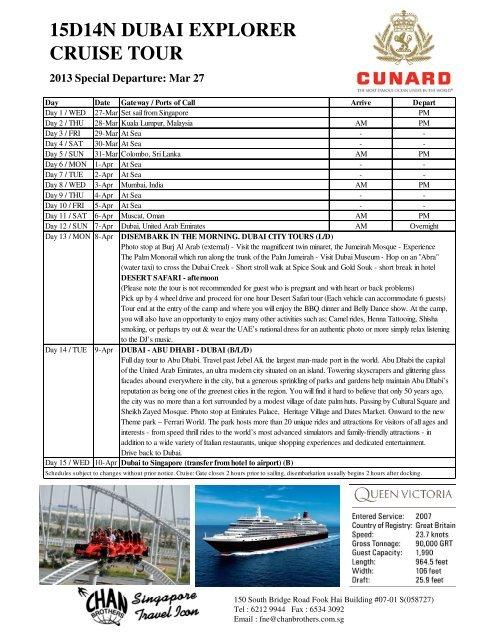 15D14N DUBAI EXPLORER CRUISE TOUR