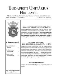 2009. év IX. / 4. szám - Magyarországi Unitárius Egyház