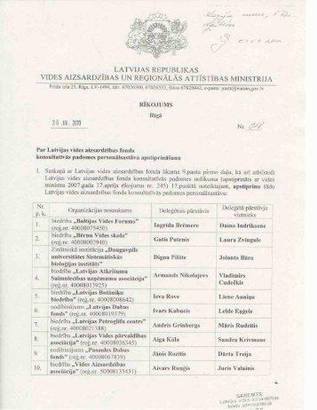 latvijas republikas vides aizsardzības un reģionälās attīstības ministrija