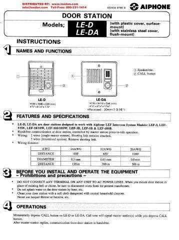 AIPHONE LE-D LE-DA Door Stations Installation \u0026 Wiring  sc 1 st  Yumpu & Visio-JK-Doors Spec Sheet.vsd - Aiphone