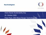 PPT Vorlage Meyer Burger AG - NZZ Equity Cleantech Day