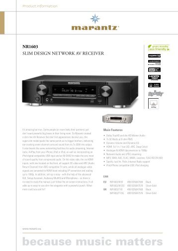 NR1603 SLIM DESIGN NETWORK AV RECEIVER - Ljud & Bildcenter