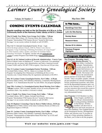 May/June - Larimer County Genealogical Society