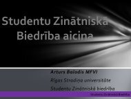 Studentu Zinātniskā Biedrība aicina - Rīgas Stradiņa universitāte