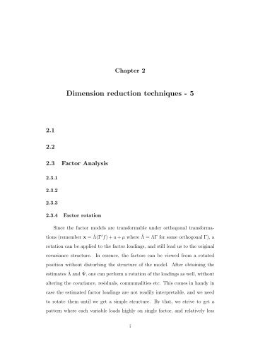 Dimension reduction techniques - 5 - SAMSI Home Page