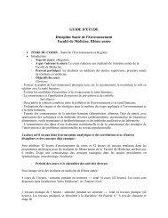 GUIDE D'ETUDE Discipline Santé de l'Environnement ... - UMF