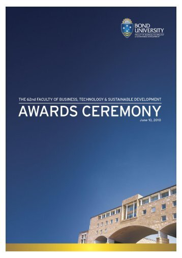 school of business awards - Bond University