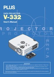 DATA PROJECTOR User's Manual - PLUS Corporation of America