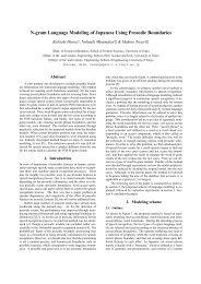 N-gram Language Modeling of Japanese Using ... - CiteSeerX