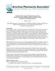 complete testimony - American Pharmacists Association