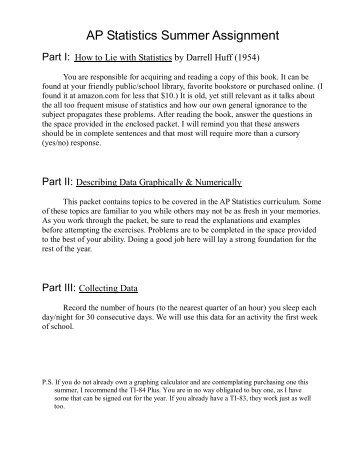 AP Statistics Summer Assignment - eSchoolView