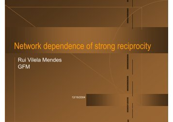 Network dependence of strong reciprocity