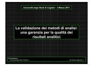 La validazione dei metodi di analisi - DipCIA - Università degli studi ...