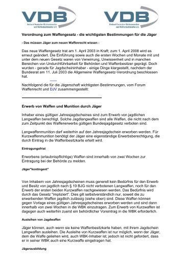 VDB - Merkblatt / Bestimmungen für Jäger - Legalwaffen.de