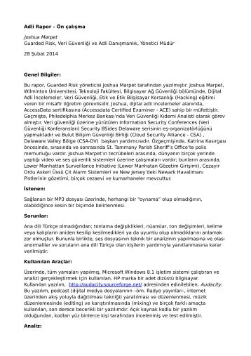 Guarded Risk  - Joshua Marpet - Audio Forensic Report (Turkish translation)