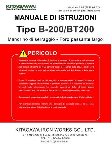 MANUALE DI ISTRUZIONI Tipo B-200/BT200 - Kitagawa Europe