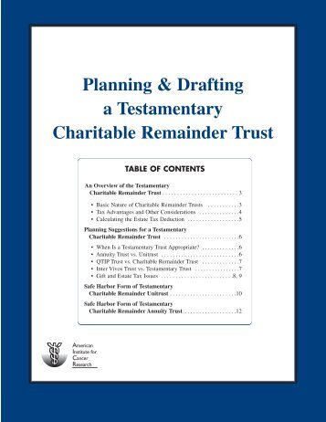 Planning and Drafting a Testamentary Charitable Remainder Trust