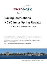 Sailing Instructions NCYC Inner Spring Regatta - Newcastle ...