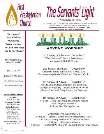 November 20, 2012 1st Sunday of Advent — December 2 2nd ...