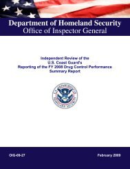 Independent Review of the U.S. Coast Guard's Reporting of the FY ...