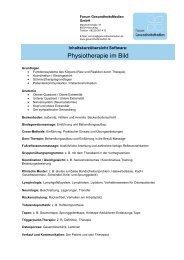 Physiotherapie im Bild - Inhaltsverzeichnis