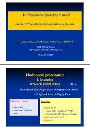 Indikátorové proteiny v moči p y - Hodnocení proteinurie: 1. kvantita