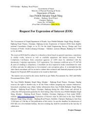 Request For Expression of Interest (EOI) - About Department of Road