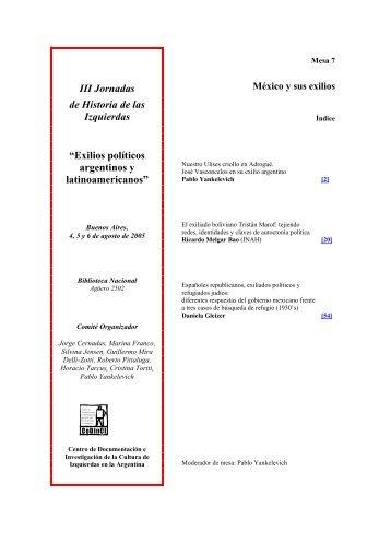 Mesa 7: México y sus exilios - CeDInCI