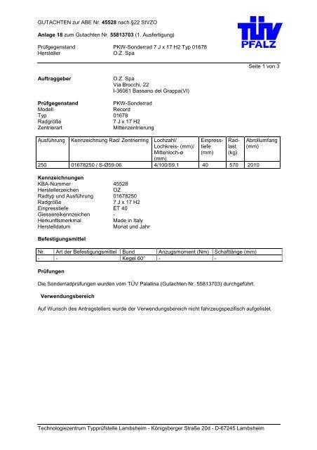 Prüfgegenstand PKW-Sonderrad - Autoteilefrau.eu