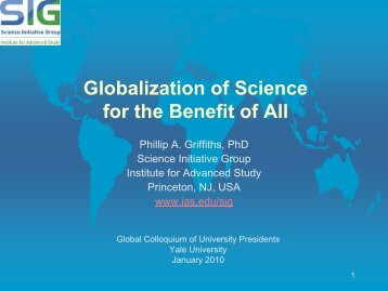 Globalization of Science for the Benefit of All - Science Initiative Group