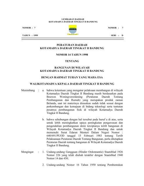 Peraturan Daerah Kotamadya Daerah Tingkat Ii Bandung Nomor 14