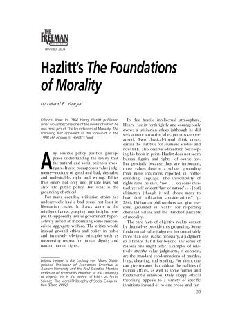 Hazlitt's The Foundations of Morality - Foundation for Economic ...