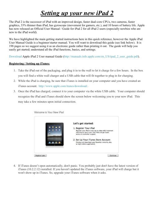 Setting up your new iPad 2