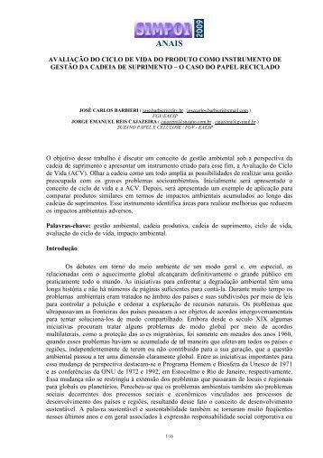 AVALIAÇÃO DO CICLO DE VIDA DO PRODUTO COMO ... - Simpoi