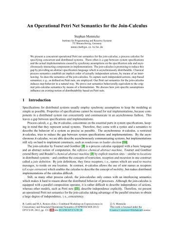An Operational Petri Net Semantics for the Join-Calculus - Rob van ...